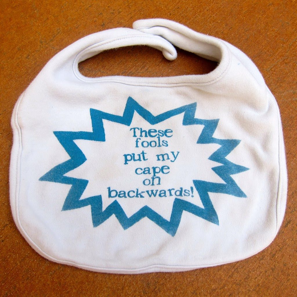 This funny baby bib is a hilarious baby gift for any new parent. No fancy tools needed to make this simple and cute project.