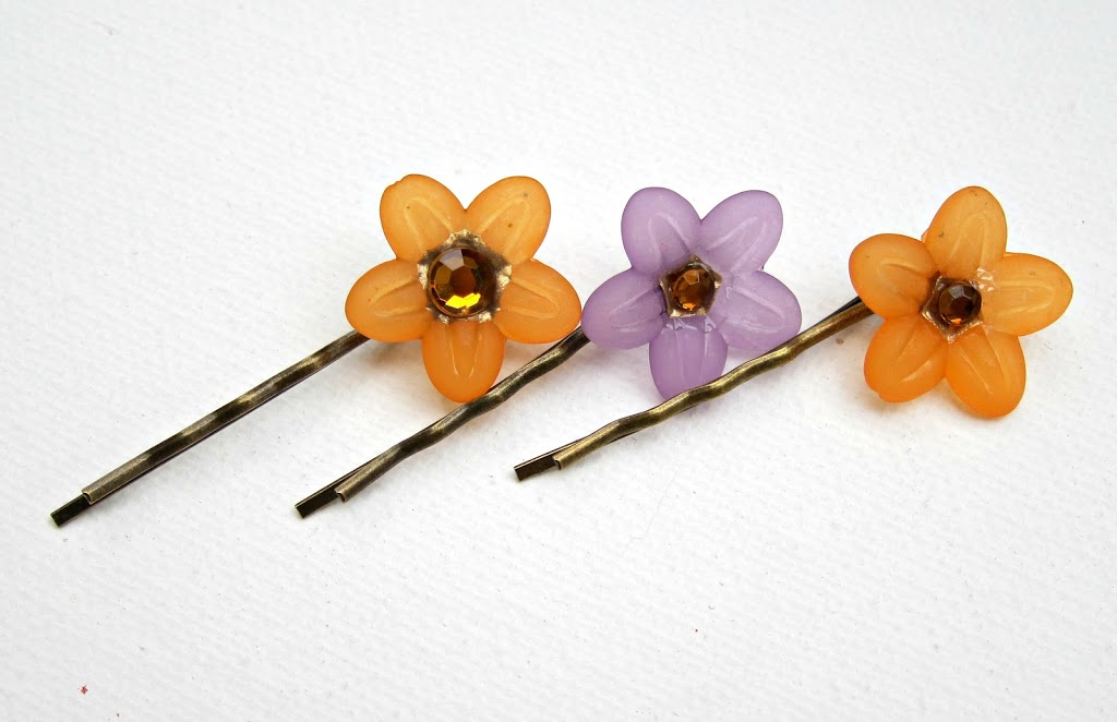 Cabochon-flower-hair-pins