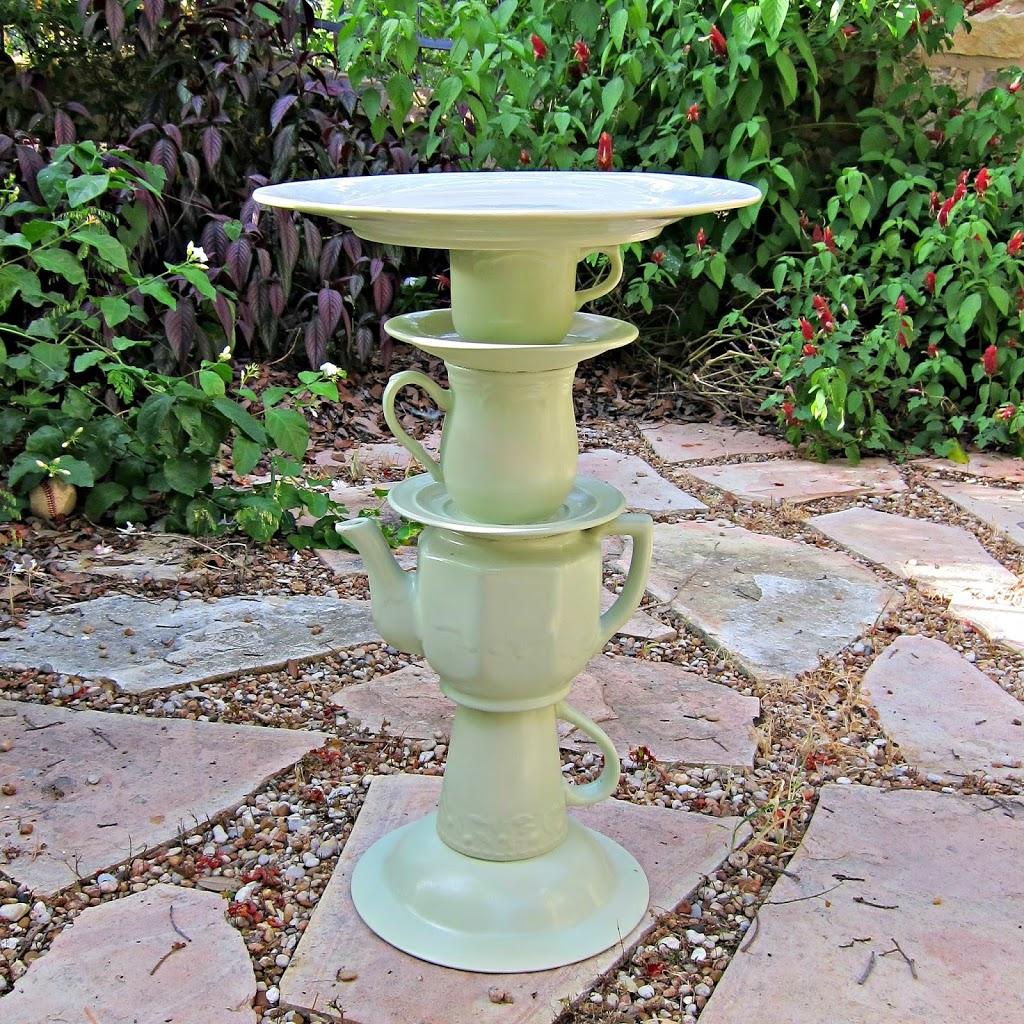 Tea Pot Bird Bath Garden Art Made From Thrifted Items