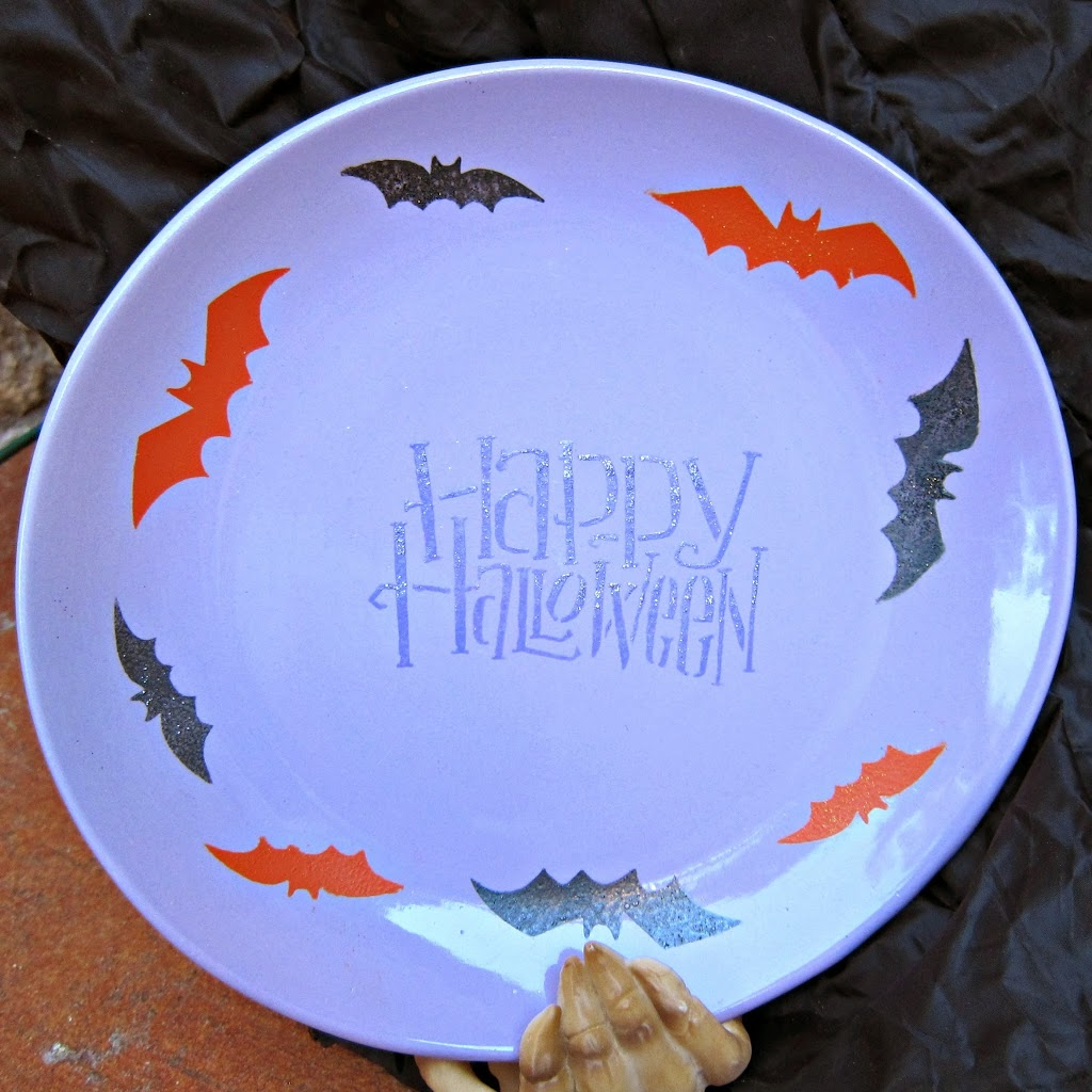 Make a halloween platter with martha stewart stencils and