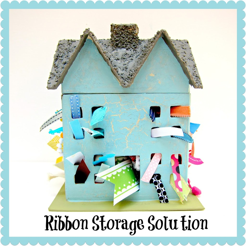 Make A Ribbon Remnant Holder Out Of A Paper Mache House
