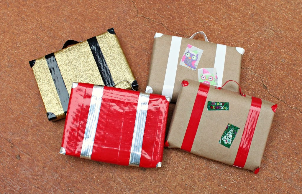 How to Make Suitcase Gift Wrap with Duck Tape