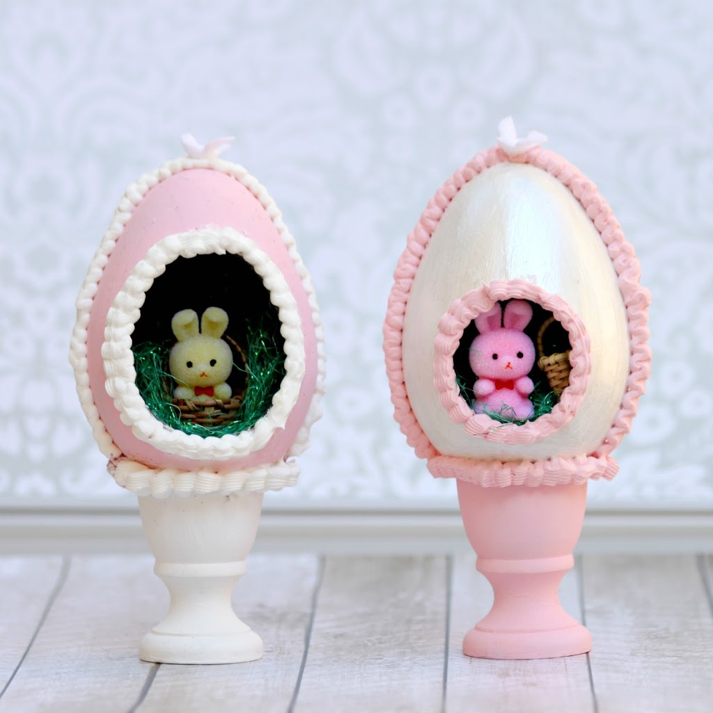 Create calorie free faux sugar eggs by using Mod Podge Collage Clay and paper mach eggs.