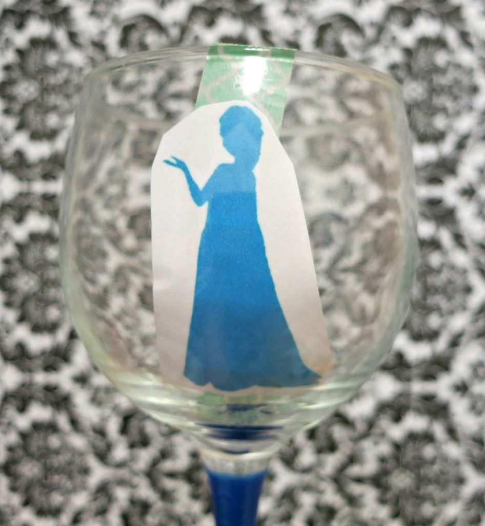 Make your own princess wine glass with glitter glass paint.