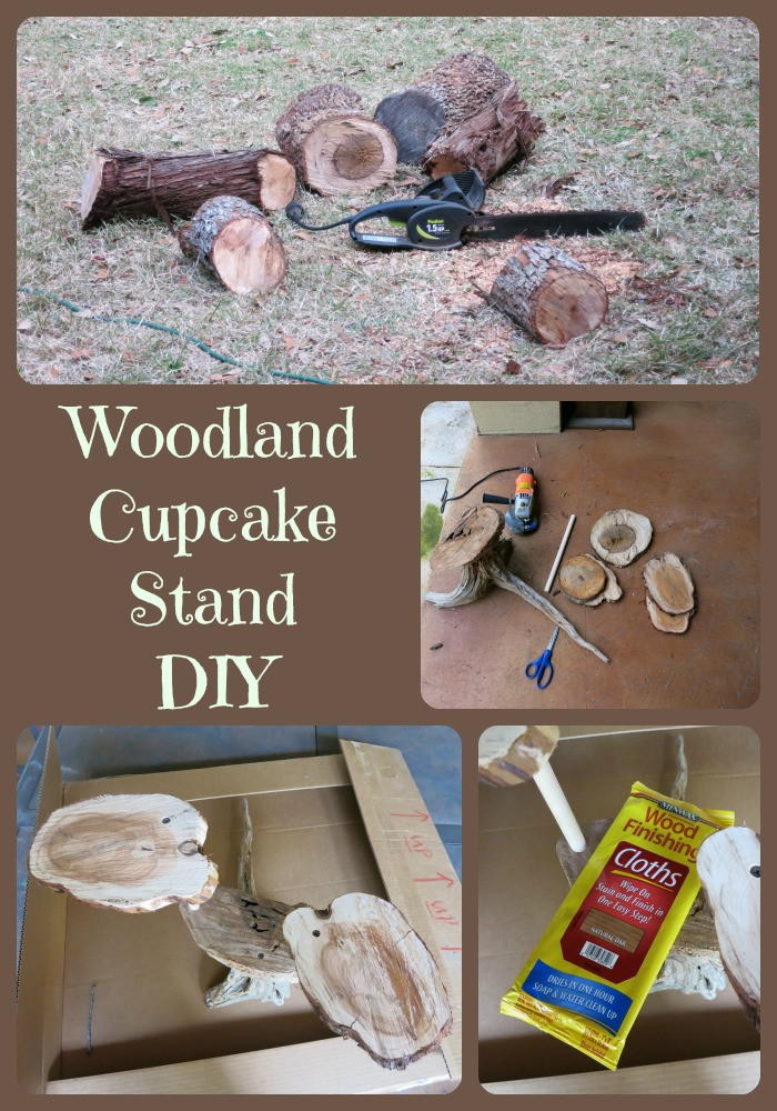 Use wood pieces to create a woodland themed DIY cupcake stand.
