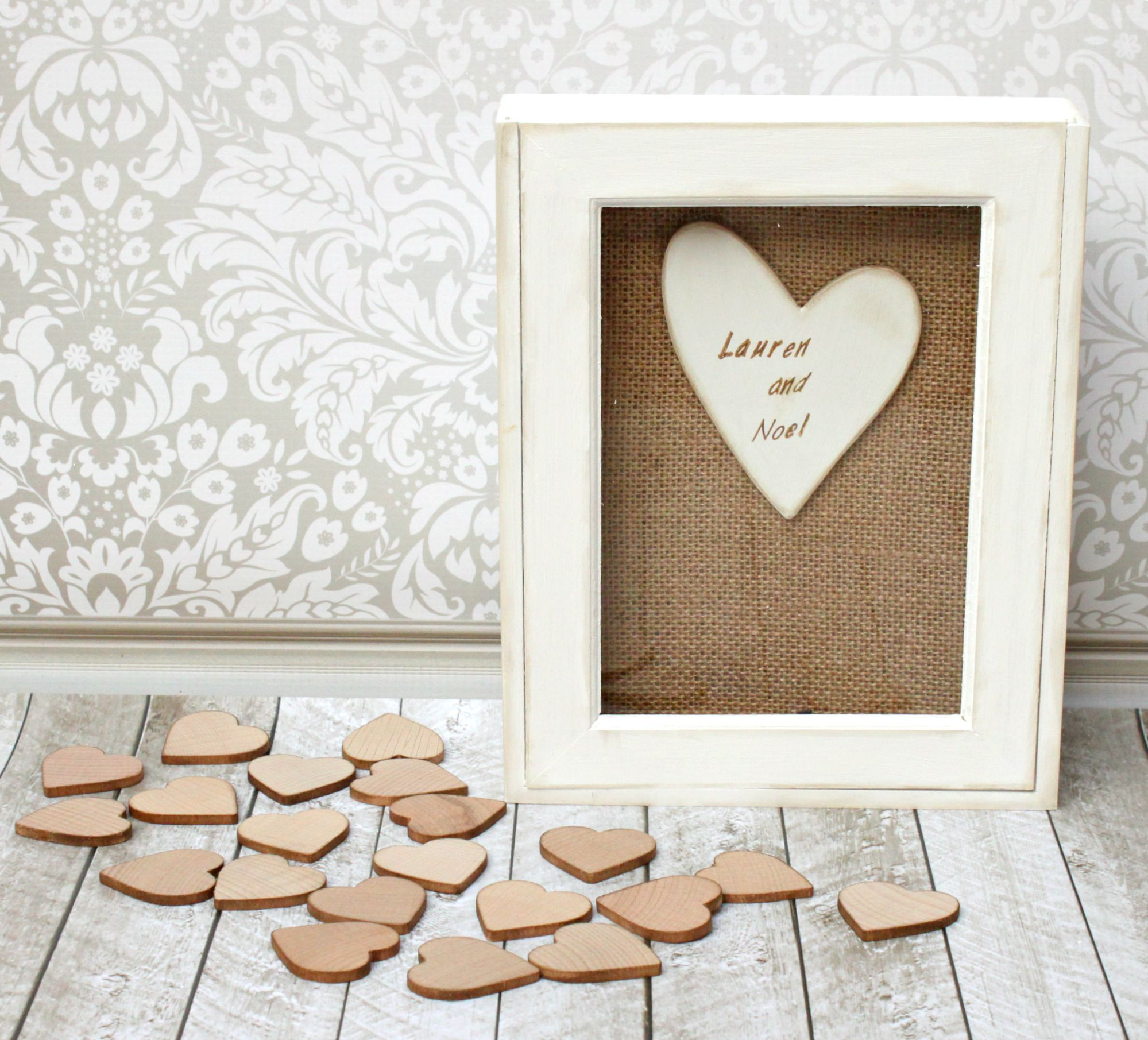 Wedding Guest Book DIY: Wood Hearts Frame - Morena\'s Corner