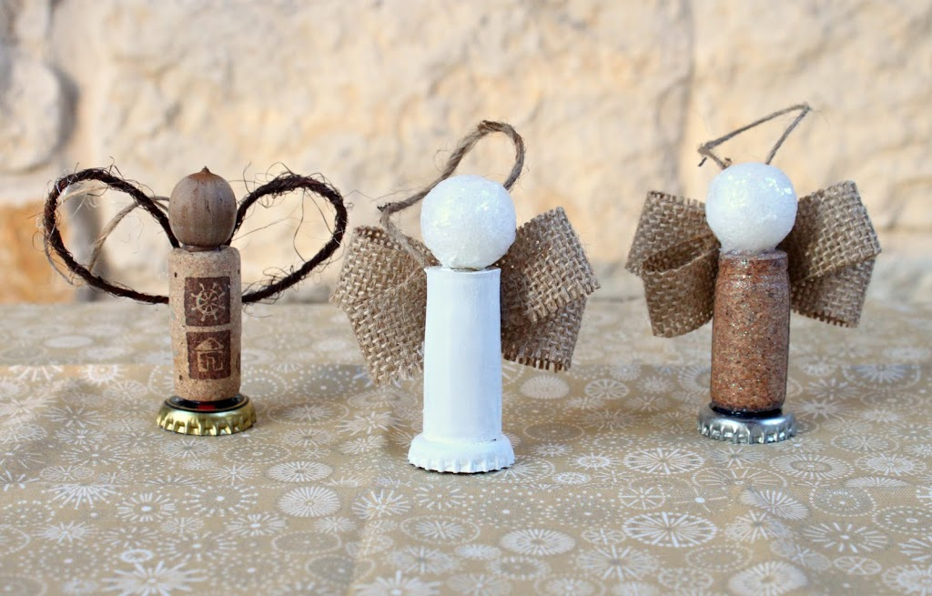 Make a cork angel ornament by using recyclables and other bits and ends from your craft room!