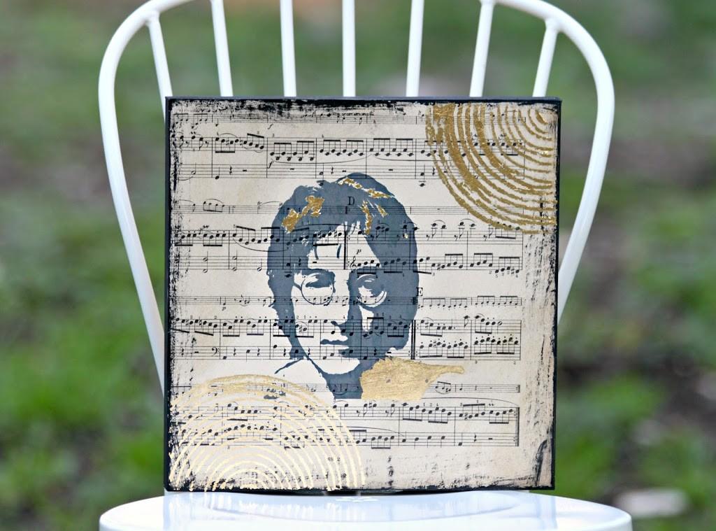 Make music wall art using sheet music and your favorite artist.