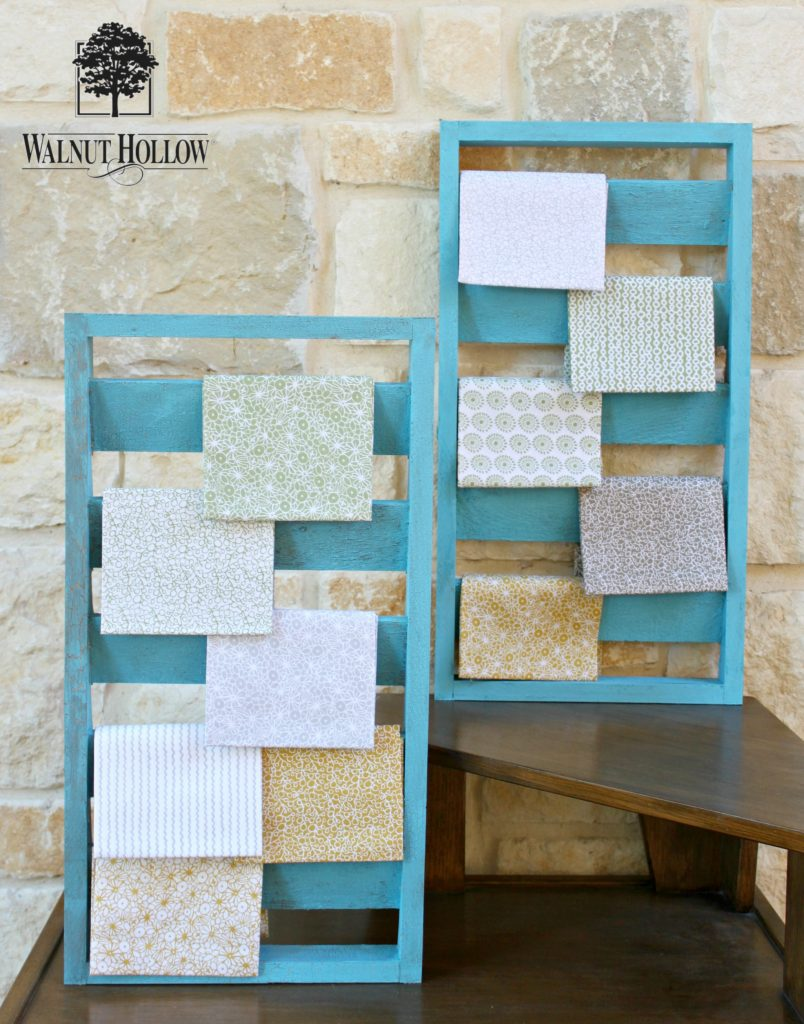Turn Walnut Hollow wood shutters into rustic fabric organization!
