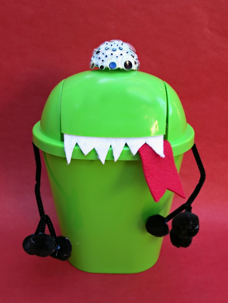 Make a funny valentine holder from a dollar store trash pail.