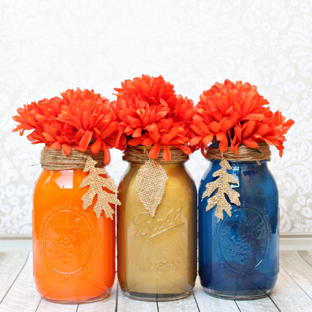 Painted mason jar fall centerpiece tutorial morena s corner