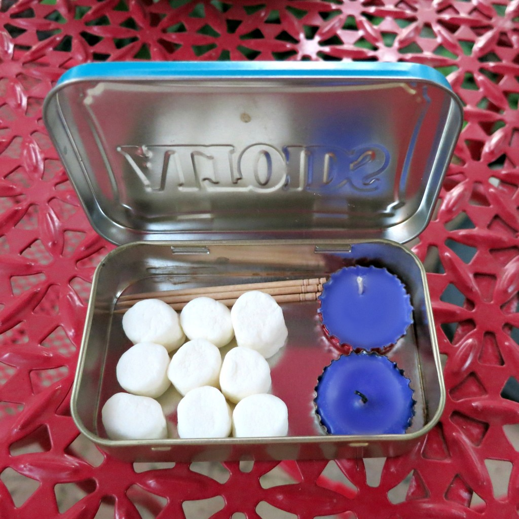 Recycle while you craft by making bottle cap candles that float!  Perfect for a tiny gift or to make a funny to-go marshmallow kit.