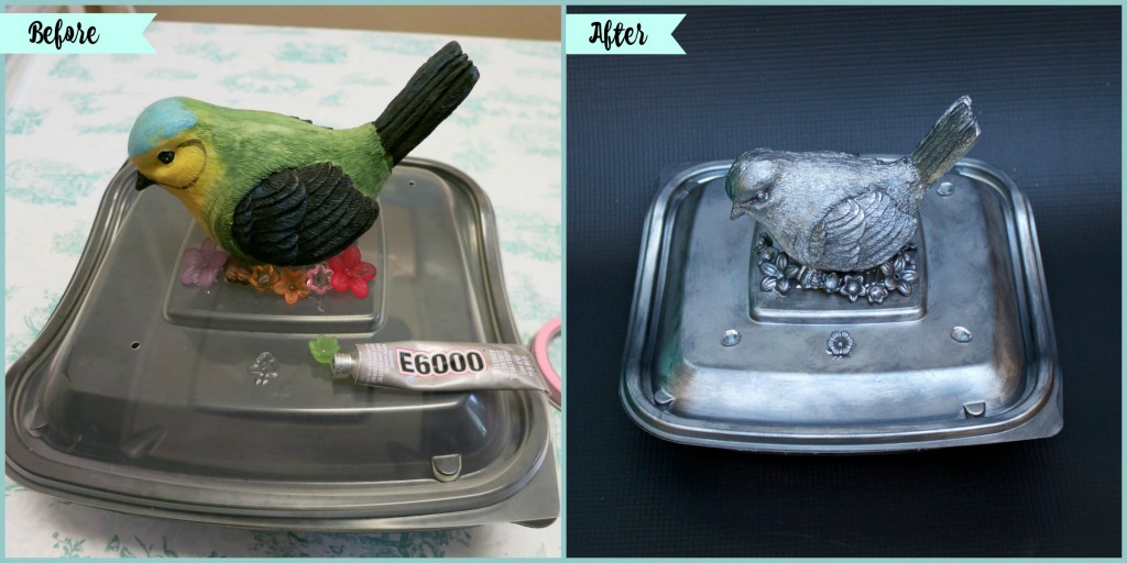 Turn a Chick-Fil-A salad container into a stunning faux pewter box. This pretty container is great for storage or as a gift box.
