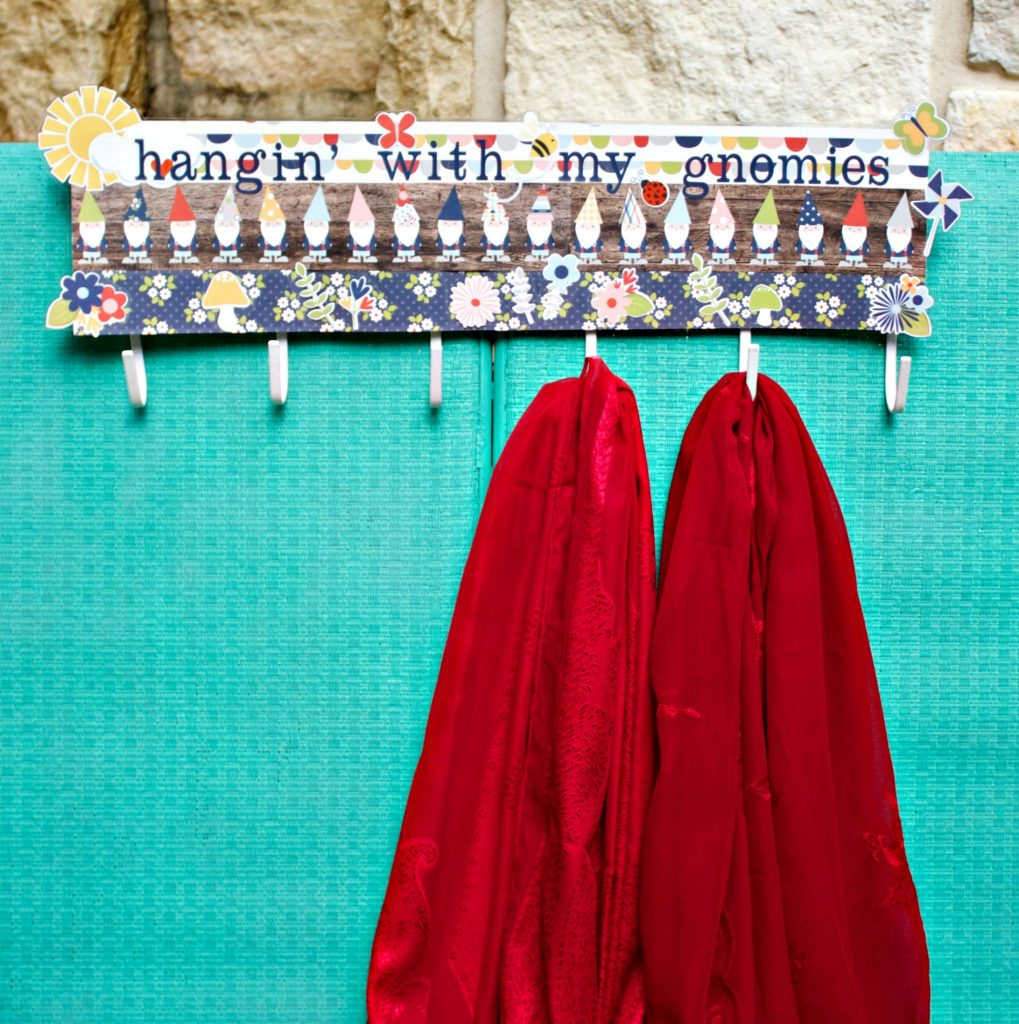 """Create a cute, colorful piece of """"hangin' with my gnomes"""" home decor that you can use to hang your keys, jewelry, or scarves on!"""