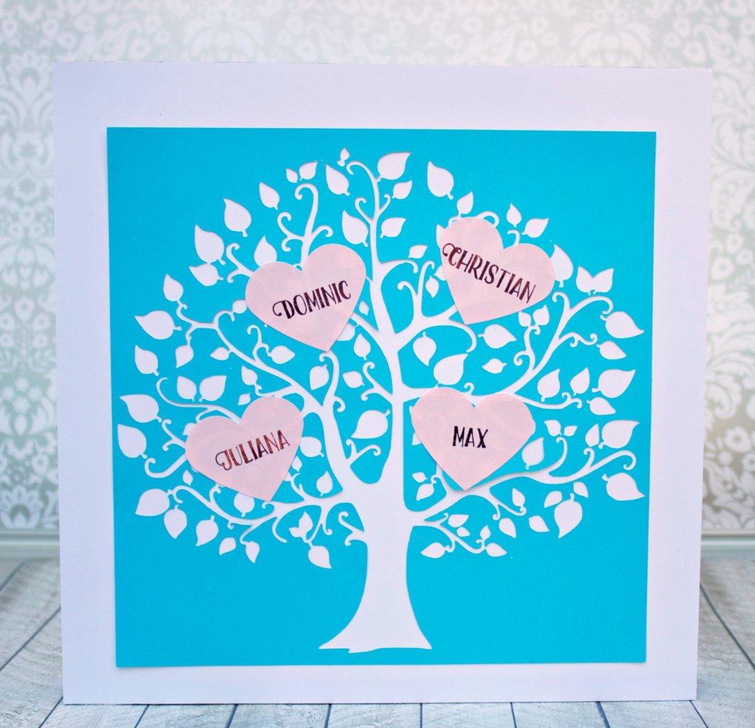 Valentine Family Tree Wall Art With Hearts Morena S Corner