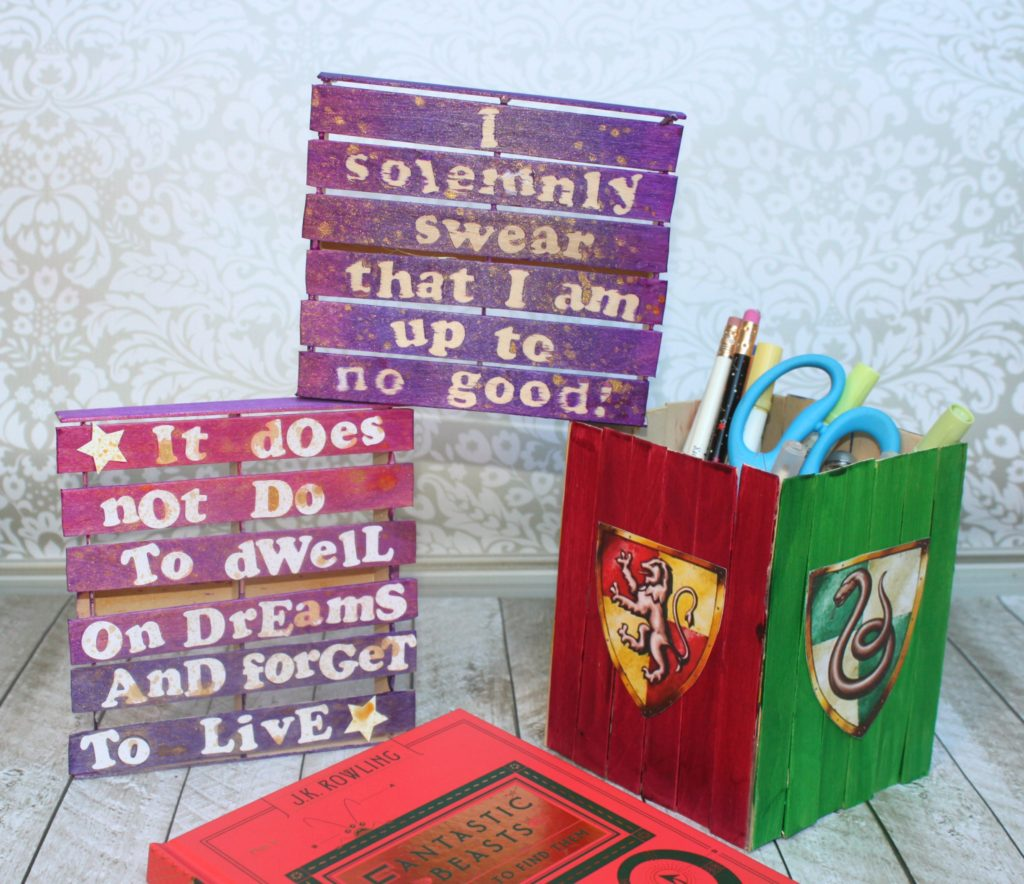 I Made Some Mini Pallet Potter Inspired Wall Art As Well As A Pencil Holder  Out