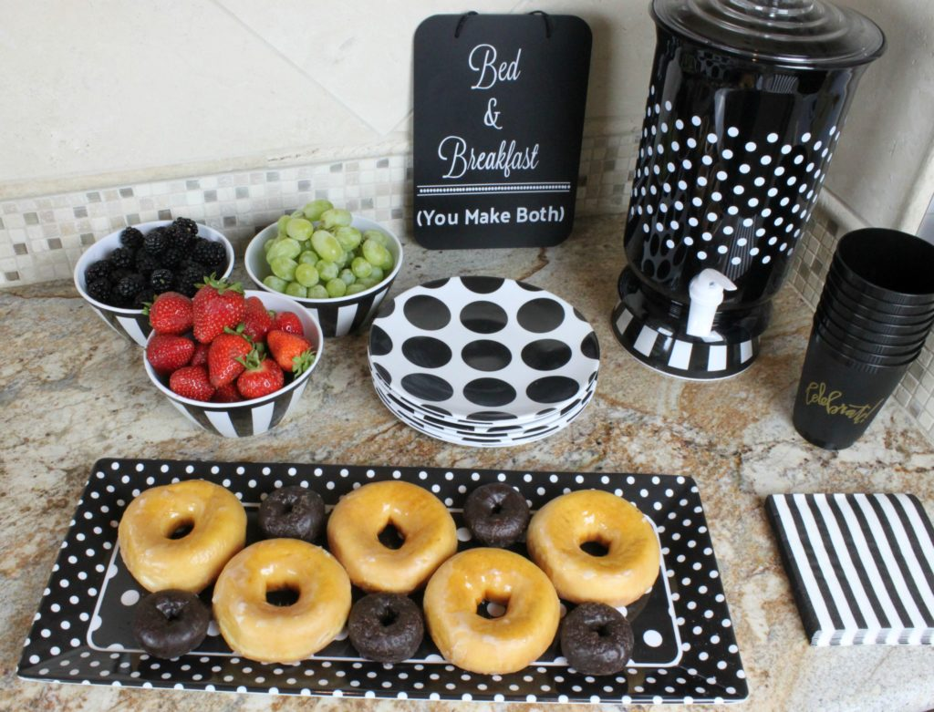 Inspired by my hotel stays, I created a breakfast bar for my overnight visitors. This simple solution was easy to put together and looks great, too!
