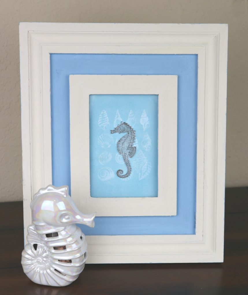 "Create beautiful seahorse framed art decor. I made the seahorse ""float"" above the water to give this home decor piece a 3-D look."