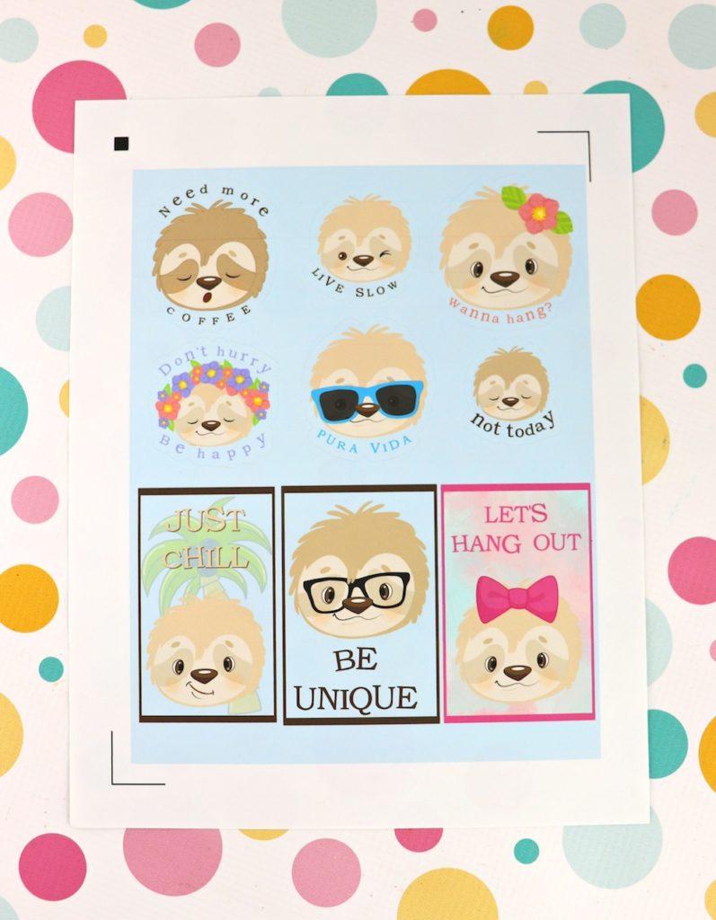Free sloth stickers
