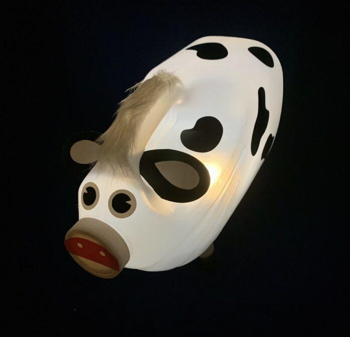 make a DIY cow lamp